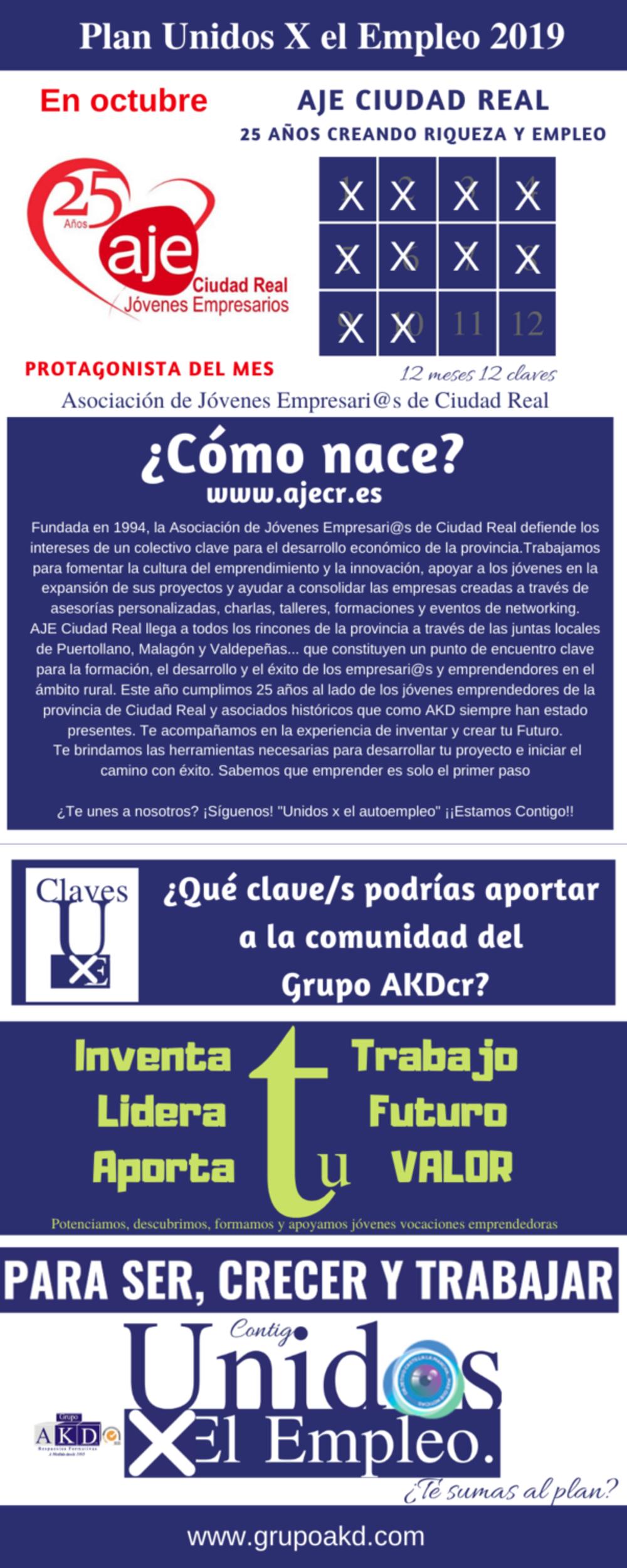 Protagonista UxE del mes de Octubre: Aje Ciudad Real. El colaborador ideal para la orientación al autoempleo y ayuda en planes de puesta en marcha ¡Conócelo!