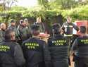Guardia Civil y Bomberos de la ciudad de Toledo trabajan juntos en el Cuartel de la capital regional