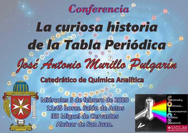 """El IES Cervantes de Alcázar impartirá una conferencia sobre """"La curiosa Historia de la Tabla Periódica"""" el 5 de febrero a las 11,30 horas"""