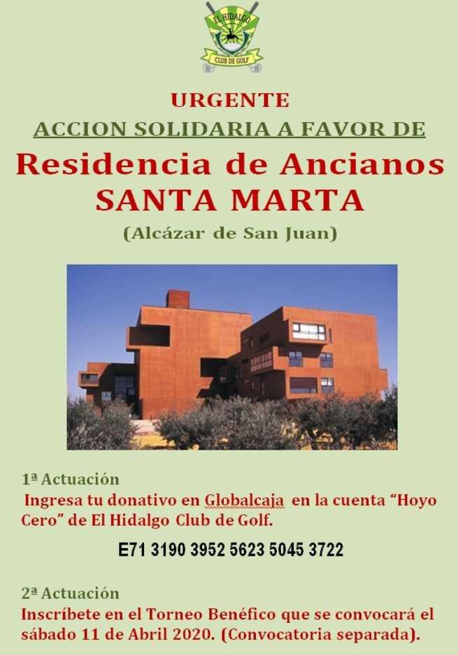El Hidalgo Club de Golf solicita ayuda para los mayores de Residencia de Ancianos Santa Marta de Alcázar de San Juan
