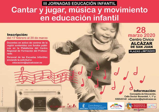 El ayuntamiento organiza las III Jornadas de Educación Infantil: Cantar y jugar, música y movimiento en Educación Infantil