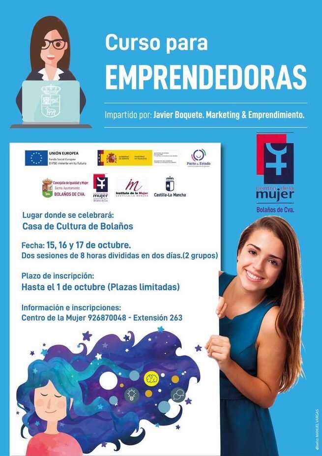 La Concejalía de Igualdad y el Centro de la Mujer de Bolaños organizan un curso de formación para mujeres emprendedoras con motivo del día internacional de las Mujeres Rurales