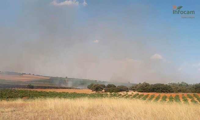 Tres medios aéreos trabajan en la extinción del fuego declarado en Socuéllamos