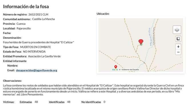 El Gobierno de España incluye la fosa común de Pajaroncillo (Cuenca) en el mapa de fosas de España