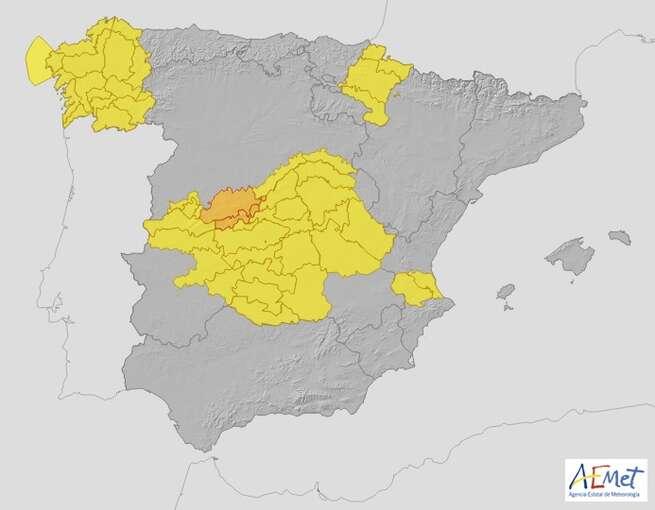 Aviso amarillo en Castilla-La Mancha por chubascos y tormentas con posibilidad de granizo