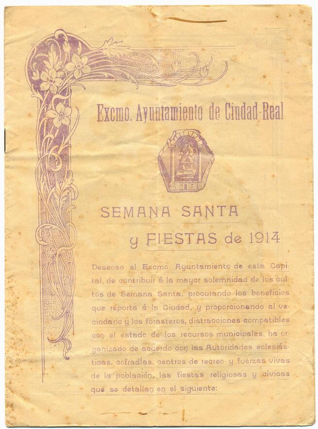 El Programa de Semana Santa y Fiestas de 1914