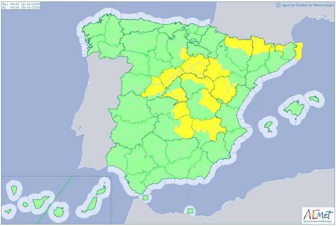 Avisos amarillo por temperaturas mínimas para hoy viernes 18 de enero