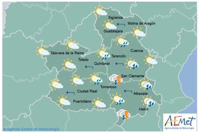 Este martes Castilla-La Mancha está en riesgo amarillo por lluvias y tormentas