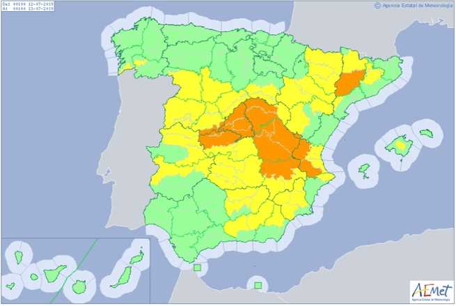 Protección Civil y Emergencias alertan por altas temperaturas a partir de mañana en el sur, centro y noreste peninsular