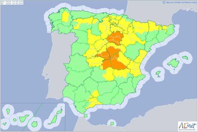 Alertas en Castilla-La Mancha para el viernes por chubascos y fuertes tormentas