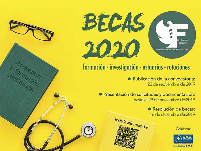 """La Fundación Colegio de Médicos de Toledo """"Dr. Atanasio Ballestero"""" convoca las Becas 2020 en materias de formación, investigación y ampliación de estudios en estancias y rotaciones"""