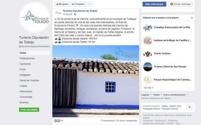 La Diputación de Toledo aprovecha las redes sociales para promocionar los recursos turísticos de la provincia