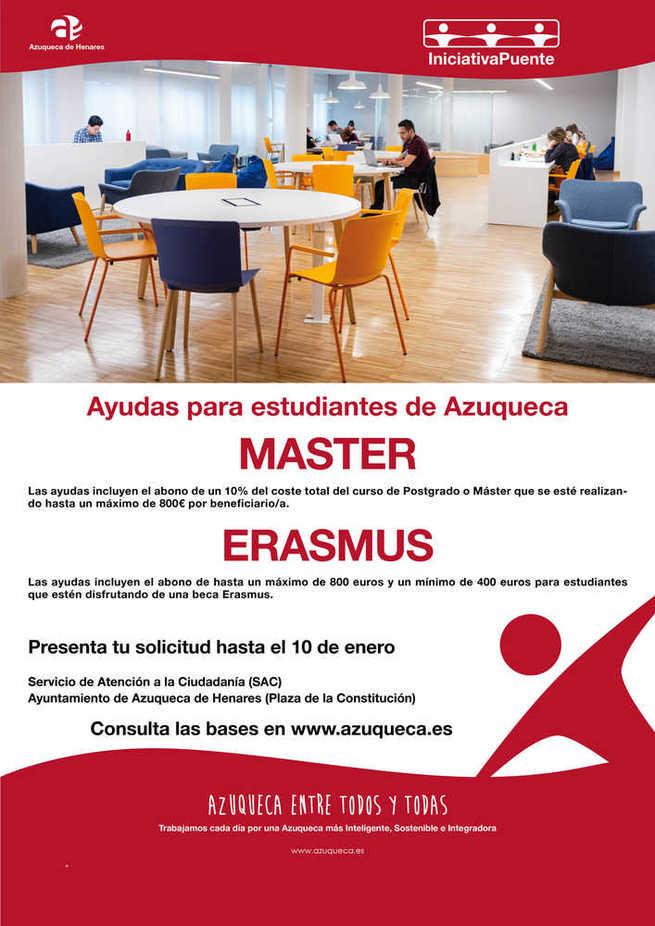 Abierto el plazo en Azuqueca para solicitar las ayudas municipales para Máster, Posgrado y Erasmus