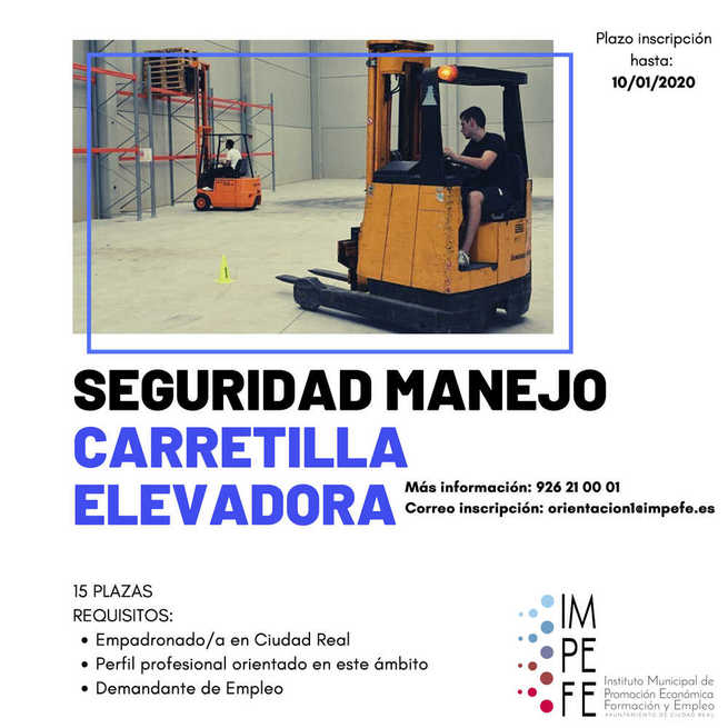 El IMPEFE abre el plazo de inscripción para un curso de seguridad en el manejo de carretillas elevadoras