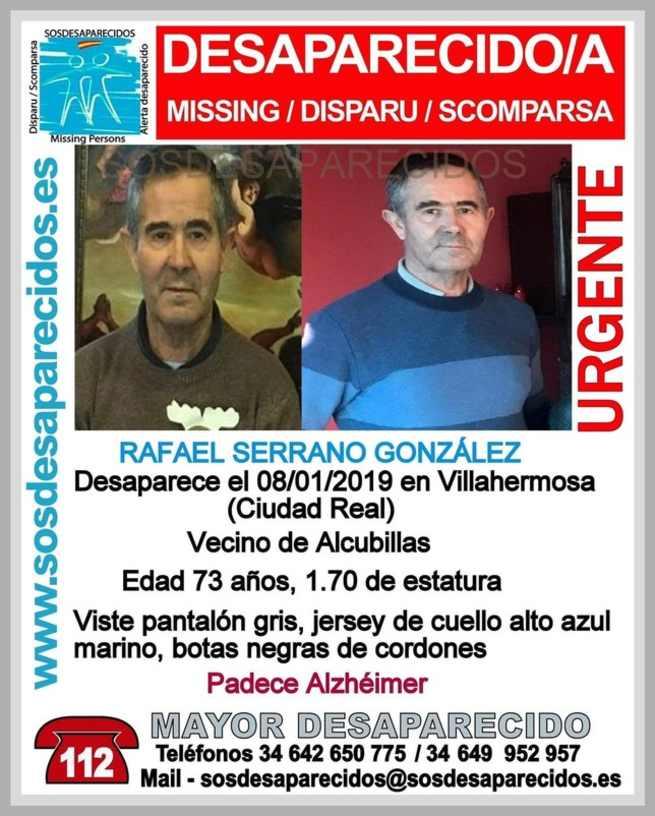 Encontrado el hombre de 73 años que desapareció en Villahermosa (Ciudad Real)
