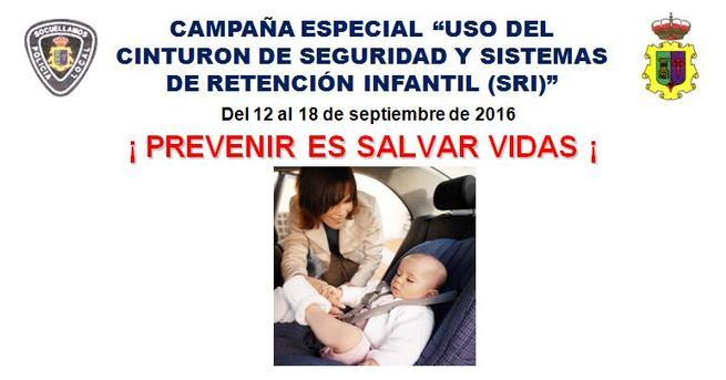 Policía Local de Socuellamos comienza el lunes 12 una campaña especial sobre el uso obligatorio del cinturón de seguridad y los sistemas de retención infantil