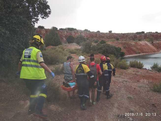 Rescatado un escalador tras caer desde unos 7 metros en Argamasilla de Alba