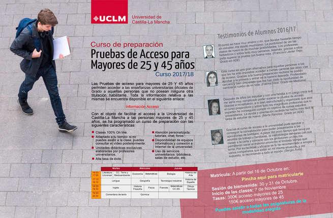 La UCLM abrirá el lunes la matrícula del curso de preparación para el acceso de mayores de 25 y 45 años