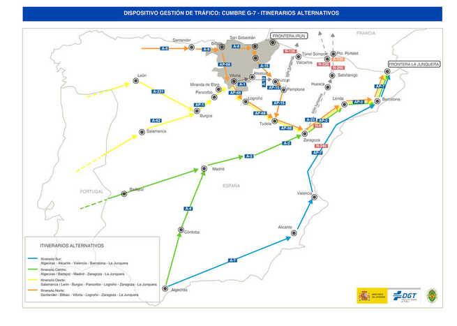 La DGT recuerda evitar el paso fronterizo por País Vasco del 23 al 26 de agosto