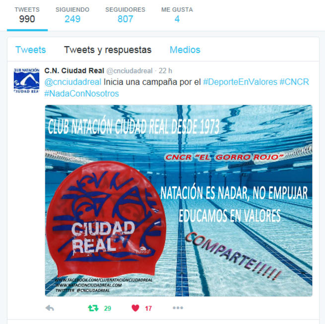 Imagen:  El Club Natación Ciudad Real inicia una campaña para promover la educación en valores deportivos como apoyo a la enseñanza técnica del nadador