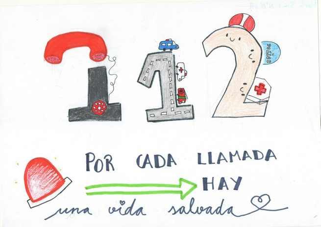 Una alumna del colegio 'Maristas Champagnat' de Guadalajara resulta ganadora del VII concurso de dibujo escolar del Servicio de Emergencias 1-1-2