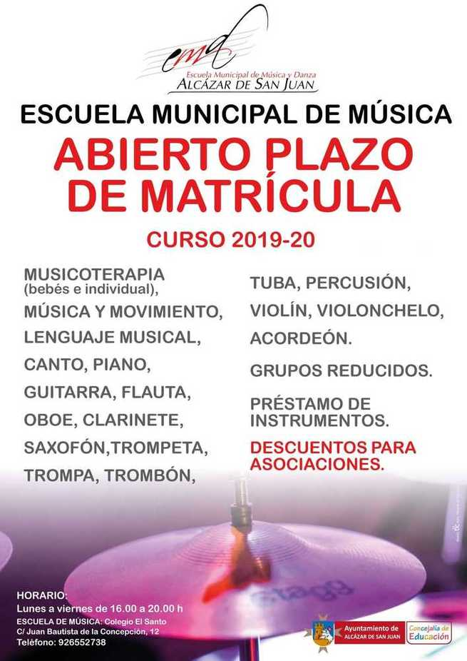 La Escuela Municipal de Música de Alcázar inicia el curso y sigue  teniendo abierto el plazo de matrícula