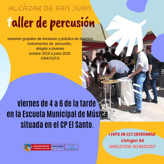 En marcha en Alcázar el Taller de Percusión en la Escuela de Música para mayores de 12 años