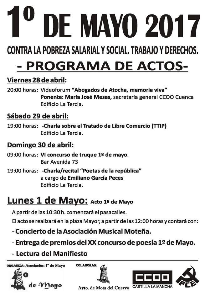 Comienzan los actos para celebrar el 1º de Mayo en Mota del Cuervo con el fallo del XX Concurso de Poesía.