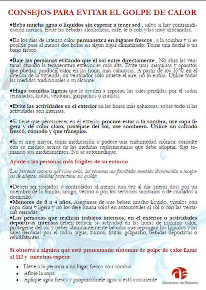 Imagen: El Ayuntamiento de Azuqueca reactiva la campaña informativa, ante la ola de calor de esta semana