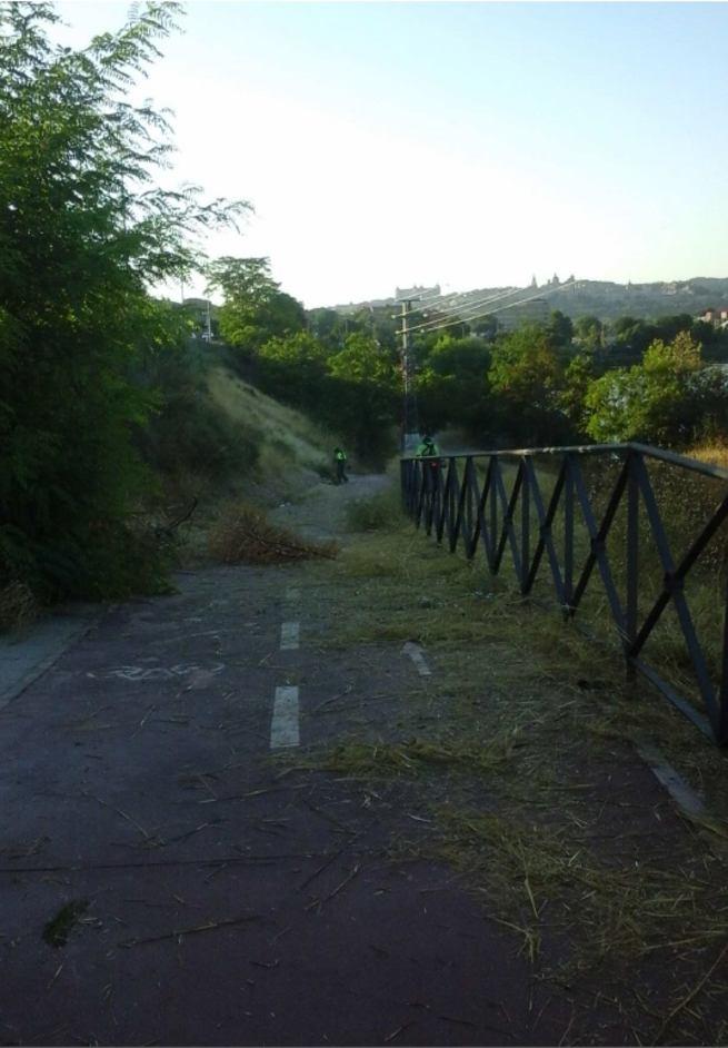 El Ayuntamiento de Toledo acomete el adecentamiento y limpieza de la Avenida Adolfo Suárez e instala nuevas papeleras