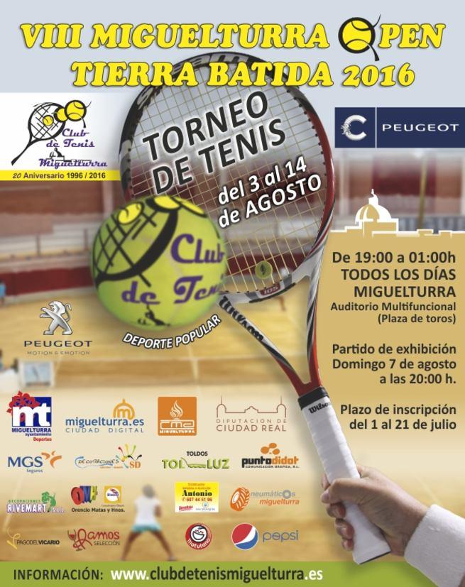 Octava edición del Open de Tenis de Tierra Batida Ciudauto de Miguelturra del 3 al 14 de agosto