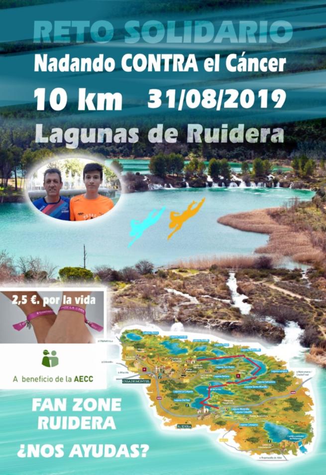 Reto de nadar 10 kilómetros en Las Lagunas de Ruidera para Pedro José Rodado a favor de la AECC