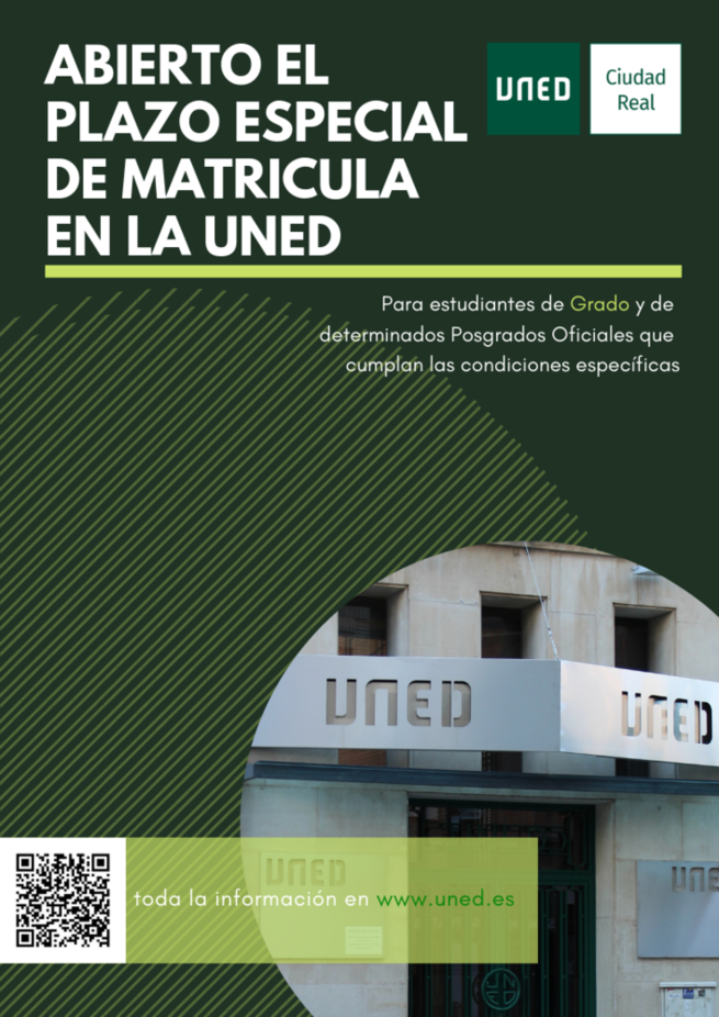 La UNED abre plazo de admisión para estudios de grado, así como algunos títulos de postgrado oficial