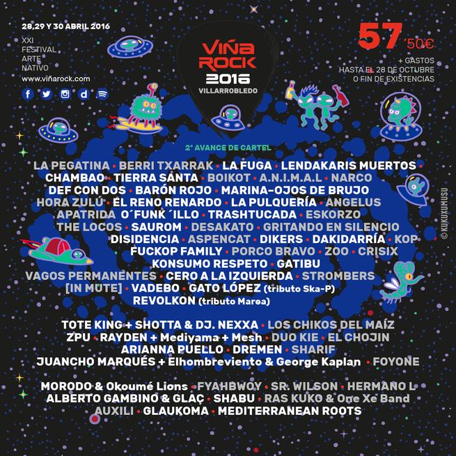 Imagen: Avance de cartel de  Viña Rock 2016