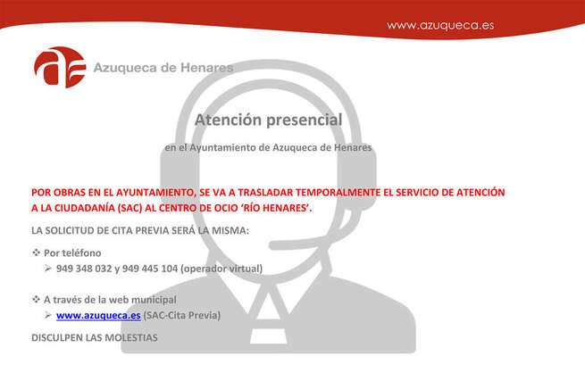 Desde el lunes, el Servicio de Atención a la Ciudadanía (SAC) del Ayuntamiento de Azuqueca de Henares se traslada al Centro de Ocio