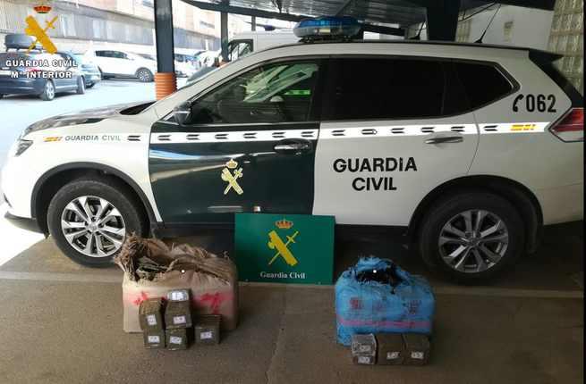 La Guardia Civil ha localizado 67 kilos de hachís abandonados en la autovía A-4 a la altura de Tembleque
