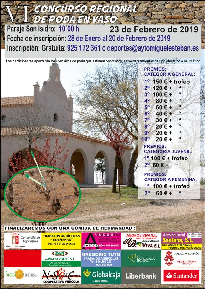 El VI Concurso Regional de Poda de Viñedo de Miguel Esteban se celebrará el 23 de febrero