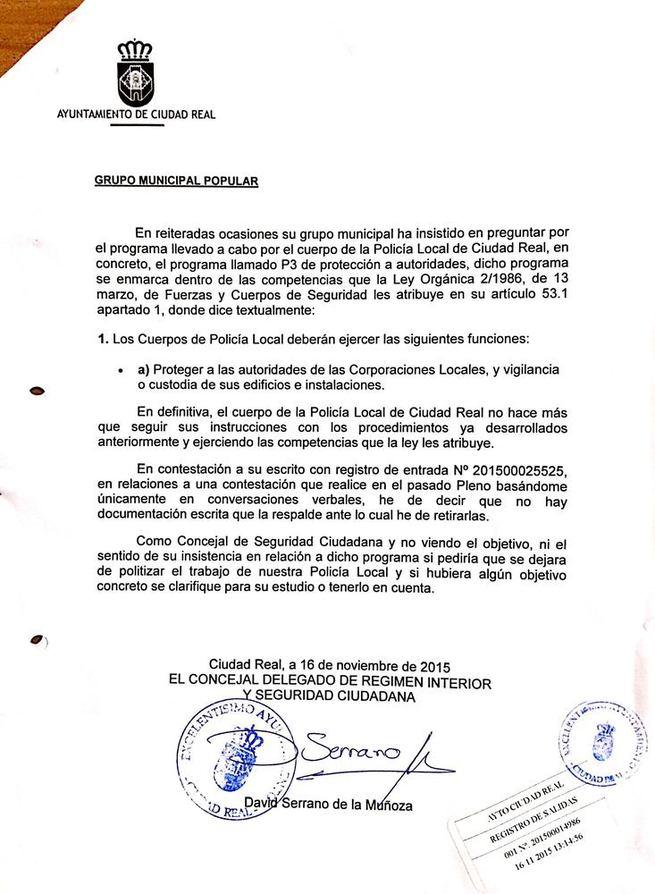 Imagen: Serrano niega que se vigilara a ediles del PP de Ciudad Real en la anterior legislatura