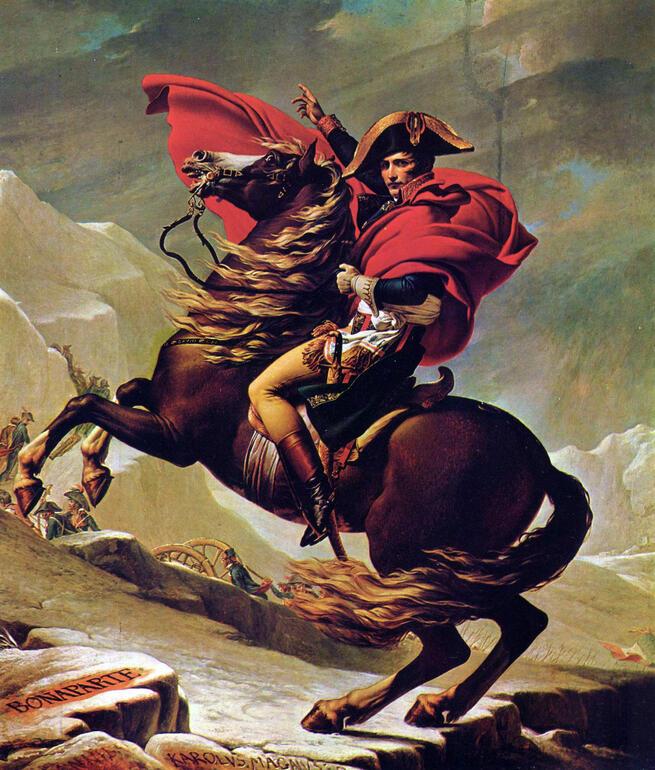 imagen de Napoleón cruzando los Alpes