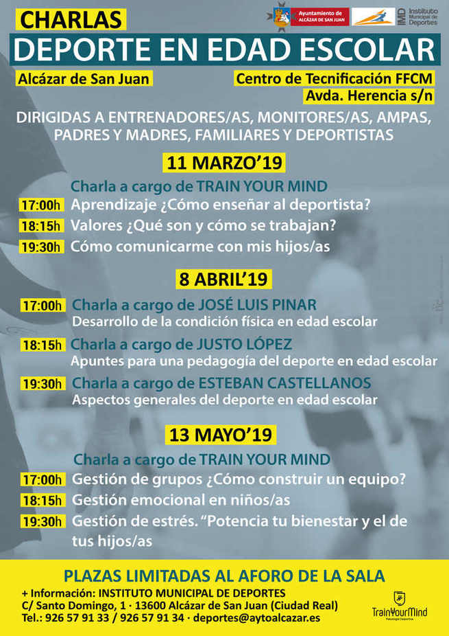 El IMD impartirá en Alcázar de San Juan charlas sobre deporte en edad escolar
