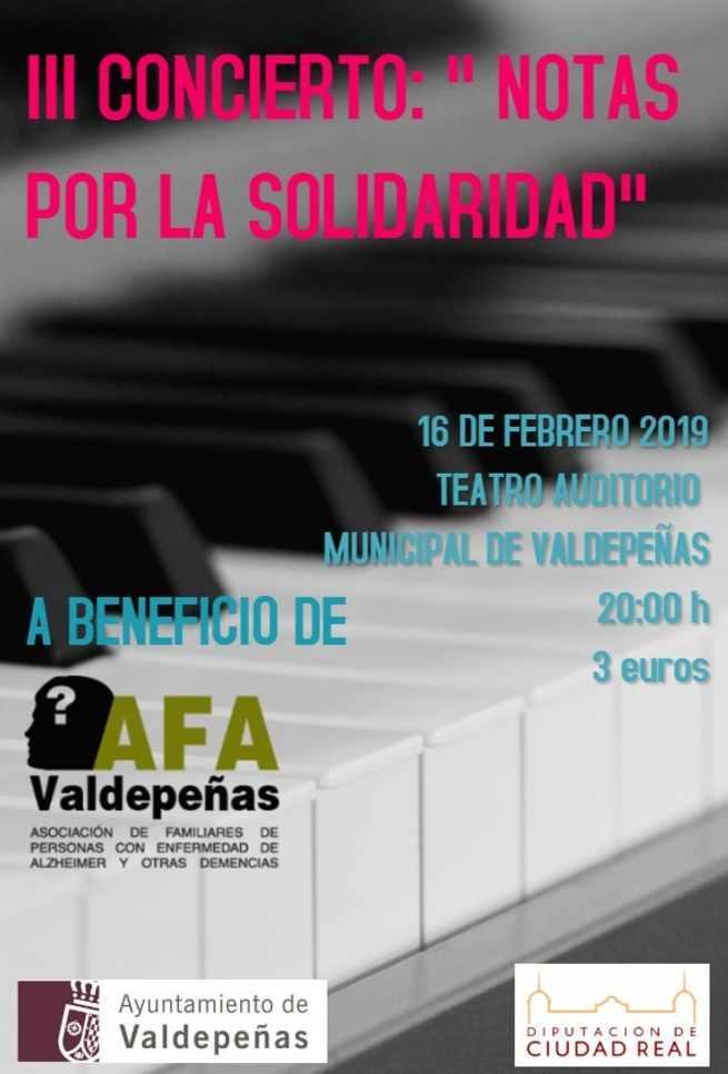 El 16 de febrero Valdepeñas celebrará el III Concierto 'Notas por la Solidaridad Humana'
