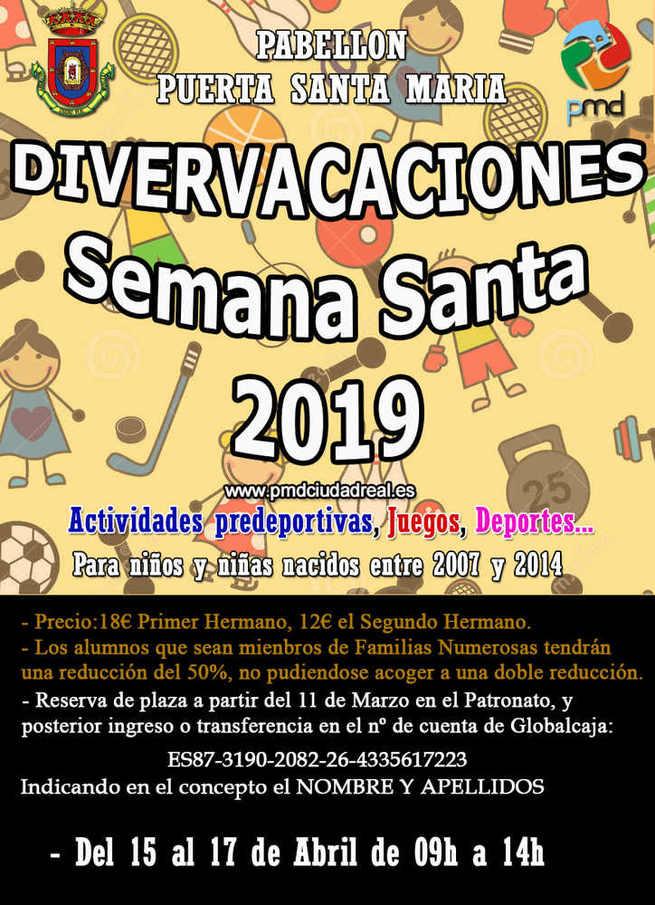 """En Ciudad Real se abre la reserva de plazas para las """"Divervacaciones"""" de Semana Santa"""