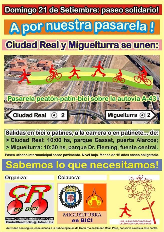 imagen de Miguelturra y Ciudad Real en bici se unen para reivindicar una pasarela peatón-bici sobre la A-43