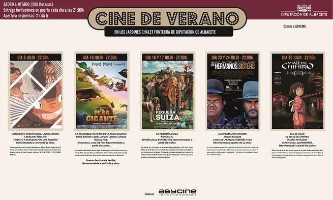 Siete sesiones completan el III Ciclo de Cine de Verano de la Diputación, que se abre el 9 de julio con la novedad de un concierto cinematográfico