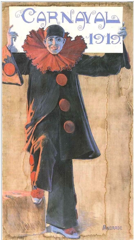 Cartel de Carnaval del año 1919 pintado por Ángel Andrade.