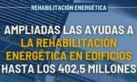 Las ayudas a la rehabilitación energética en edificios existentes se amplían hasta los 402,5 millones