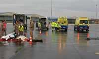 Se realiza un simulacro de un accidente aéreo en la base albaceteña de Los Llanos