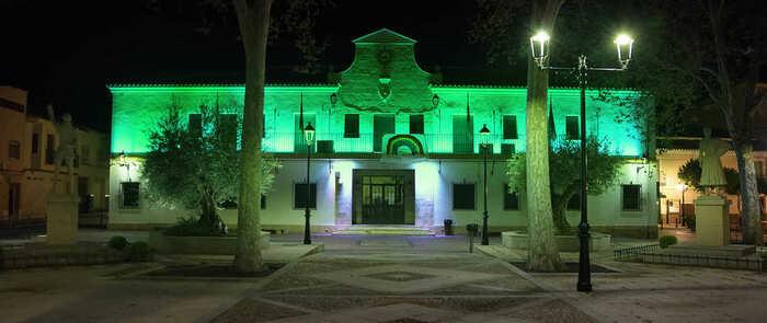 El Ayuntamiento de Argamasilla de Alba se ilumina de verde esperanza