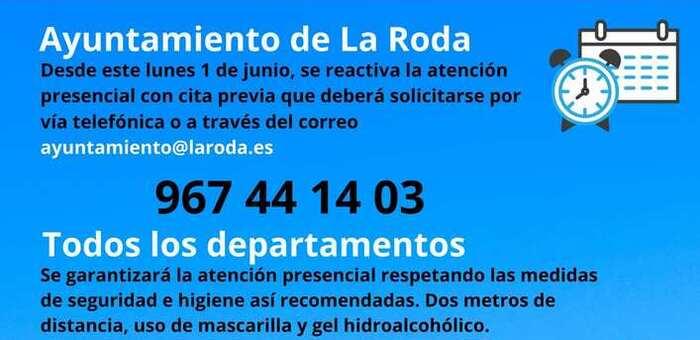 El Ayuntamiento de La Roda ofrecerá atención presencial con cita previa desde este lunes