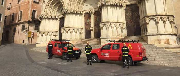 El Ministerio de Defensa despliega efectivos de la UME en municipios de Cuenca y Toledo para apoyar a las Fuerzas y Cuerpos de Seguridad en la labor de garantizar la seguridad y la de desinfección